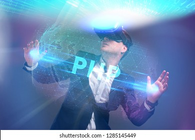 Business, Technology, Internet and network concept. Young businessman working in virtual reality glasses sees the inscription: PHP