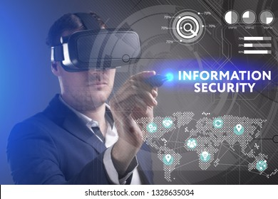 Business, Technology, Internet and network concept. Young businessman working in virtual reality glasses sees the inscription: Information security