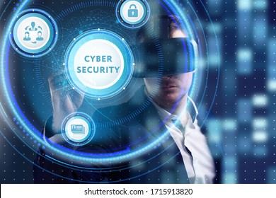 Business, Technology, Internet and network concept. Young businessman working on a virtual screen of the future and sees the inscription: Cyber security