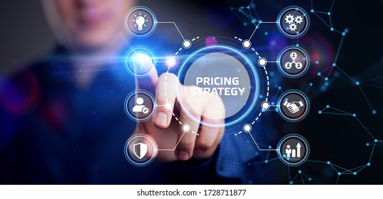 Business, Technology, Internet and network concept. Young businessman shows the word on the virtual display of the future: Pricing strategy