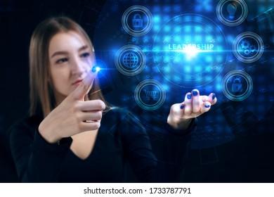 Business, Technologie, Internet und Netzwerk Konzept. Junge Geschäftsleute, die an einem virtuellen Bildschirm der Zukunft arbeiten und die Inschrift sehen: Führung