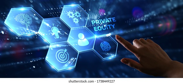Business, Technology, Internet and network concept. Young businessman shows the word on the virtual display of the future: private equity