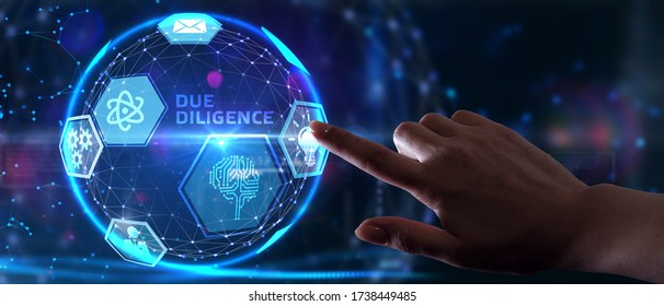 Business, Technology, Internet and network concept. Businessman working on the tablet of the future, select on the virtual display: Due diligence