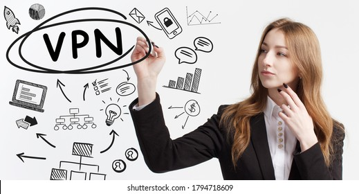 Business, technology, internet and network concept. Young businessman thinks over ideas to become successful: VPN