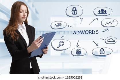 Business, technology, internet and network concept. Young businessman thinks over the steps for successful growth: AdWords