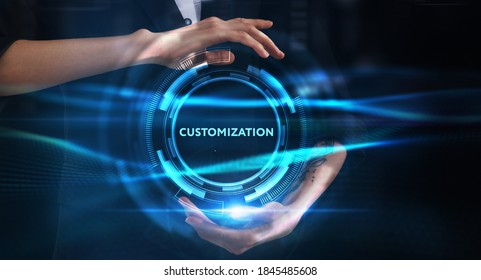 Business, technology, internet and network concept. Young businessman thinks over the steps for successful growth: Customization