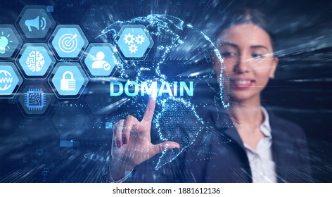 Business, Technology, Internet and network concept. Young businessman working on a virtual screen of the future and sees the inscription: Domain