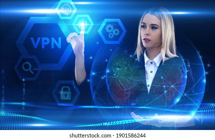 Business, Technology, Internet and network concept. Young businessman working on a virtual screen of the future and sees the inscription: VPN