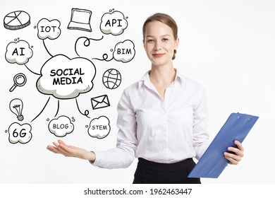 Business, technology, internet and network concept. Young businessman thinks over the steps for successful growth: Social media