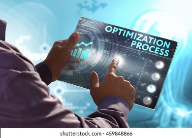 Business, Technology, Internet and network concept. Young business man, working on the tablet of the future, select on the virtual display: optimization process
