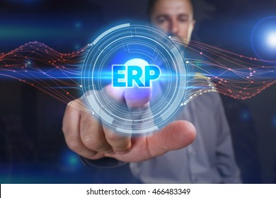 Business, Technology, Internet and network concept. Young business man chooses the virtual screen: ERP