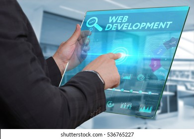 Business, Technology, Internet and network concept. Business man working on the tablet of the future, select on the virtual display: Web development