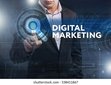 Business, Technology, Internet and network concept. Business man working on the tablet of the future, select on the virtual display: digital marketing