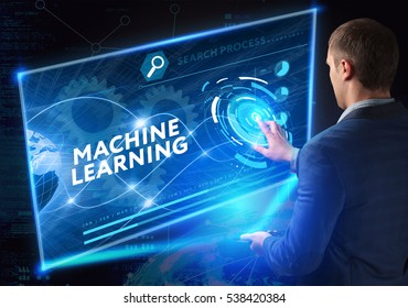 Business, Technology, Internet and network concept. Business man working on the tablet of the future, select on the virtual display: machine learning