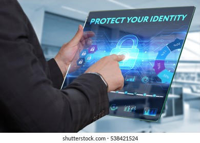 Business, Technology, Internet and network concept. Business man working on the tablet of the future, select on the virtual display: Protect your identity