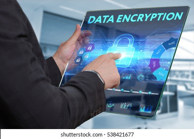 Business, Technology, Internet and network concept. Business man working on the tablet of the future, select on the virtual display: Data encryption