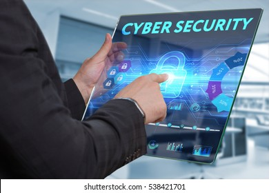 Business, Technology, Internet and network concept. Business man working on the tablet of the future, select on the virtual display: Cyber security
