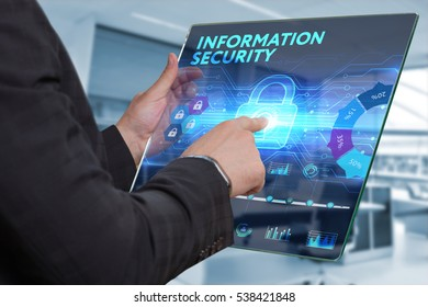 Business, Technology, Internet and network concept. Business man working on the tablet of the future, select on the virtual display: Information security