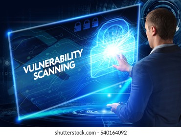 Business, Technology, Internet and network concept. Business man working on the tablet of the future, select on the virtual display: VULNERABILITY SCANNING