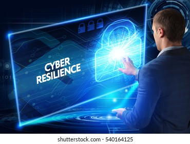 Business, Technology, Internet and network concept. Business man working on the tablet of the future, select on the virtual display: CYBER RESILIENCE