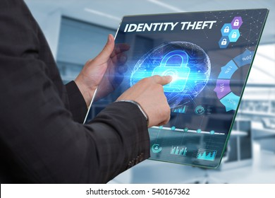 Business, Technology, Internet and network concept. Business man working on the tablet of the future, select on the virtual display: IDENTITY THEFT