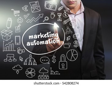 Business, Technology, Internet and network concept. Business man working on the tablet of the future, select on the virtual display: marketing automation