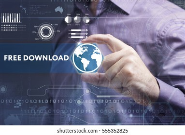 Business, Technology, Internet and network concept. Young businessman working on a virtual screen of the future and sees the inscription: free download