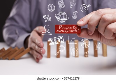 Business, Technology, Internet and network concept. Young businessman shows the word: Property management