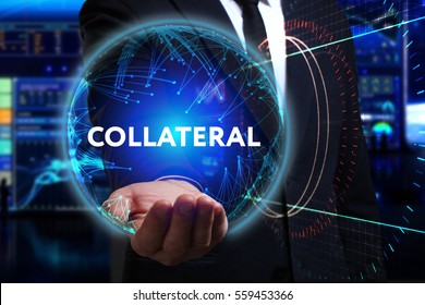 Business, Technology, Internet and network concept. Young businessman working in the field of the future, he sees the inscription: collateral