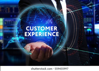 Business, Technology, Internet and network concept. Young businessman working in the field of the future, he sees the inscription: customer experience