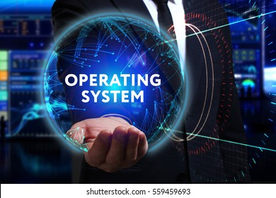 Business, Technology, Internet and network concept. Young businessman working in the field of the future, he sees the inscription: operating system