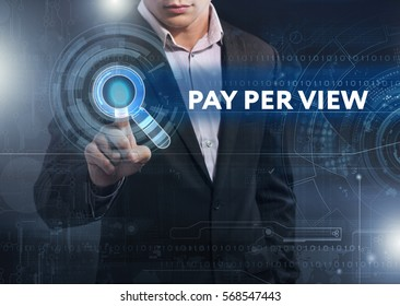 Business, Technology, Internet and network concept. Business man working on the tablet of the future, select on the virtual display: pay per view
