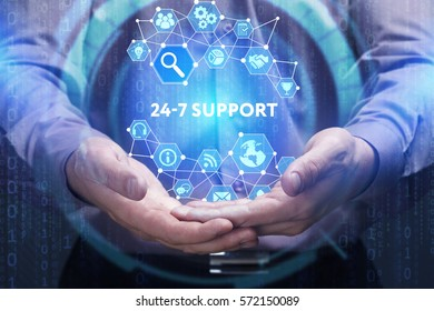 Business, Technology, Internet and network concept. Young businessman shows the word on the virtual display of the future: 24-7 Support