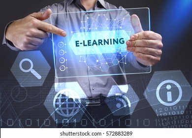 Business, Technology, Internet and network concept. Young businessman showing a word in a virtual tablet of the future: E-learning