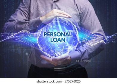 Business, Technology, Internet and network concept. Young businessman shows the word: Personal loan