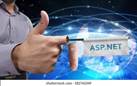 Business, Technology, Internet and network concept. Young entrepreneurs have a creative approach to the presentation: ASP.NET