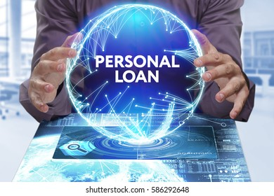 Business, Technology, Internet and network concept. Young businessman shows the word on the virtual display of the future: Personal loan