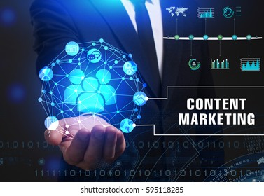 Business, Technology, Internet and network concept. Young businessman working on a virtual screen of the future and sees the inscription: Content marketing