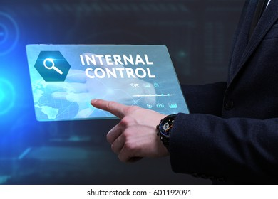 Business, Technology, Internet and network concept. Young businessman working on a virtual screen of the future and sees the inscription: Internal control