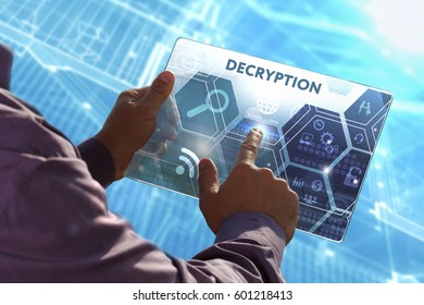 Business, Technology, Internet and network concept . Young business man working on the tablet of the future , select the virtual screen: Decryption