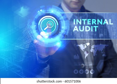 Business, Technology, Internet and network concept. Business man working on the tablet of the future, select on the virtual display: Internal audit