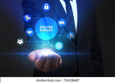 Business, Technology, Internet and network concept. Young businessman working on a virtual screen of the future and sees the inscription: Online survey