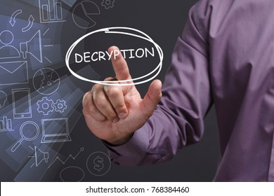 Business, Technology, Internet and network concept. Young businessman shows the word: Decryption