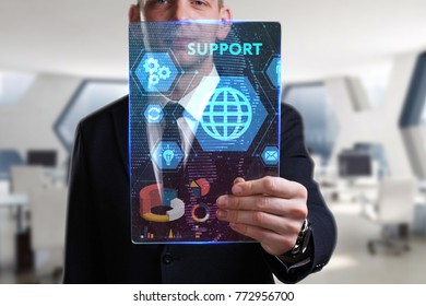 Business, Technology, Internet and network concept. Young businessman working on a virtual screen of the future and sees the inscription: Support