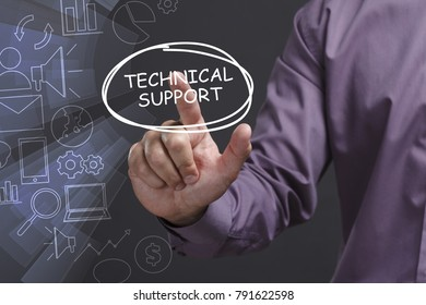 Business, Technology, Internet and network concept. Young businessman shows the word: Technical support