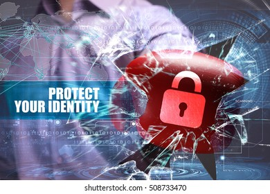 Business, Technology, Internet and network security. Protect your identity