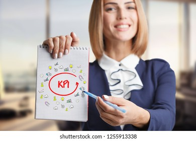 Business, technology, internet and networking concept. Young successful entrepreneur in the work process. KPI