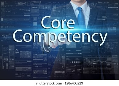 business, technology, internet and networking concept - businessman pressing virtual button with text - Core competency