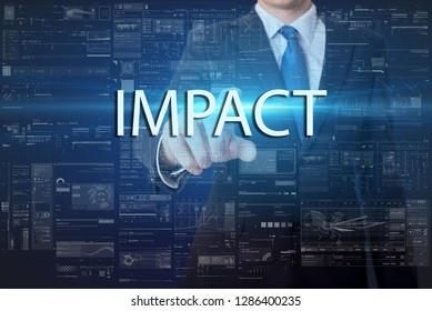 business, technology, internet and networking concept - businessman pressing virtual button with text - Impact