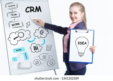 Business, technology, internet and networking concept. Young entrepreneur showing keyword: CRM